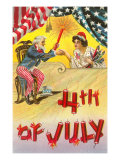 4th of July, Uncle Sam Shaking Hands with Rocket Lady Art