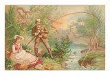 Old Fashioned Fishing and Picnic Poster
