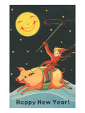 Child Riding Pig by Smiling Moon Prints