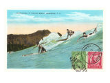Surf Riding at Waikiki, Hawaii Posters