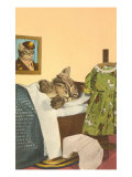 Kitten Sleeping in Bed Posters