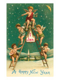 Happy New Year, Cherubs on Ladder Posters