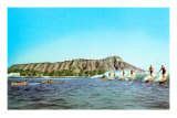 Diamond Head, Surfers, Hawaii Prints