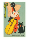 Clown Playing Bass, Cat Howling Poster