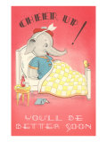 Cheer Up, Cartoon Elephant in Bed Prints