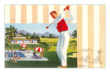Golfing at Resort, Illustration Posters