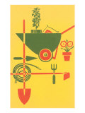 Stylized Gardening Implements Print