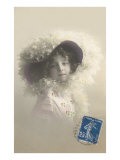 Girl in Feathered Hat Posters