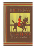 Birthday Greetings to a Nice Person, Equestrian Print