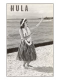 Hula Girl with Lei on Beach Posters