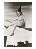 Halloween, Woman on Broomstick Posters