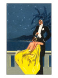 Sophisticated Couple on Balcony Prints