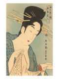 Japanese Woodblock, Lady with Scroll Posters