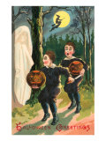 Halloween Greetings, Children with Ghost Prints