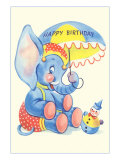Happy Birthday, Elephant and Clown Prints