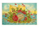 Birthday Greetings, Ship with Roses Prints