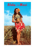 Aloha from Maui, Girl in Field with Pineapple Prints