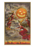 Halloween Greetings, Witches and Jack O'Lantern Prints