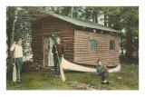 Three Men by Log Cabin and Canoe Photo
