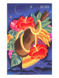 Graphic of Ukulele and Tropical Flowers, Aloha Plakater