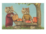 Dressed Kittens at a Picnic Prints