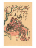 Japanese Woodblock, Man with Flute-Playing Geisha Prints
