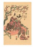 Japanese Woodblock, Man with Flute-Playing Geisha Prints