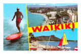 Scenes of Waikiki, Hawaii Prints