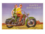 Happy Birthday, Couple on Motorcycle Posters