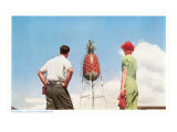 Couple Gazing at Giant Pineapple, Hawaii Photo