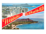 Waikiki, Old and New, Hawaii Print