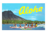 Aloha, Riding Outrigger, Hawaii Print