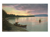 Sunset on the Lake, Canoes Poster