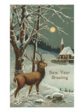 Happy New Year, Elk in Moonlight Posters