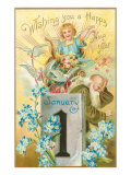 Wishing You a Happy New Year, Victorian Angel, Father Time Prints
