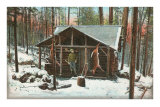Deer Hanging by Rustic Cabin in Winter Posters