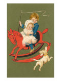 Children on Rocking Horse Prints