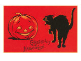 Greetings for Halloween, Black Cat and Jack O'Lantern Posters