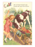 Calf, Little Girl with Vegetable Cart Posters