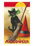 Halloween, Cat and Broom Poster