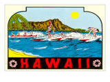 Hawaii, Surfers at Diamond Head Prints
