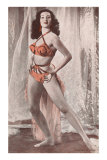 Woman in Orange and Black Bathing Suit Posters