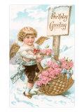 Birthday Greeting, Cherub with Basket of Roses Prints