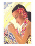Graphic of Hawaiian Lady with Fish Net Print