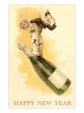 Clown with Bouquet on Champagne Bottle Print