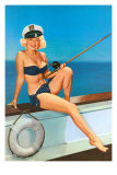 Woman Fishing in Bikini and Captain's Hat Photo