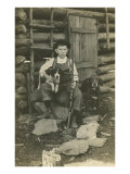 Boy with Rifle and Two Dogs Poster