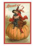 Halloween, Victorian Witch on Pumpkin Prints