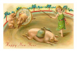 Happy New Year, Performing Pigs Prints