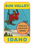 Sun Valley, Idaho, World's Greatest Skiing, Ski Lift Giclee Print